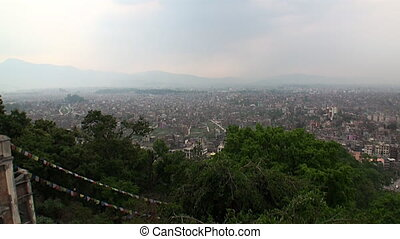 View from above. on Kathmandu in Nepal .Zoom in.