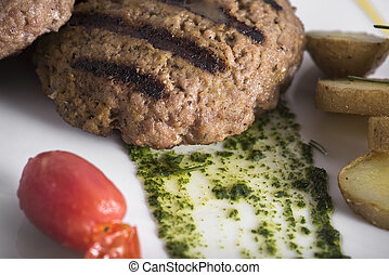 Gourmet Grilled beefburger with poached potatoes (11)close...