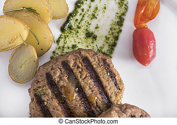 Gourmet Grilled beefburger with poached potatoes (12)close...