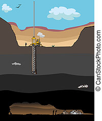 Miner Rescue Operation - A giant drill bores a hole to...