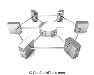 Cloud computing - 3D rendered Illustration. Isolated on...
