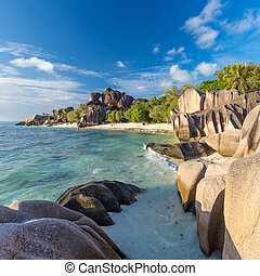 Beautiful Anse Source d'Argent tropical beach, La Digue...