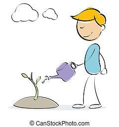 vector kid watering plant