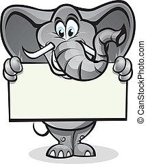 Elephant holding sign