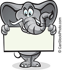 Elephant holding sign