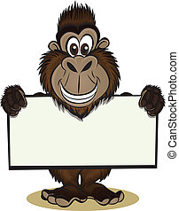 Gorilla holding sign - Cute Gorillamonkey holding sign...