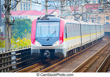 Subway train. Shanghai, China - Shanghai metro train on a...