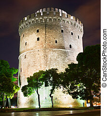 White Tower at night, Thessaloniki - View of White Tower in...