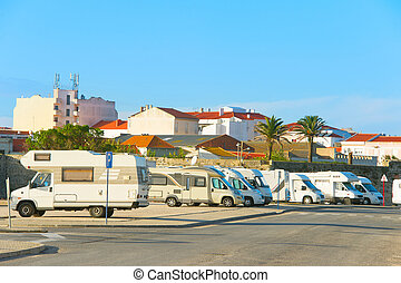 Camping car parking - Caravan parking in a small town at...