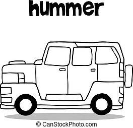 Hand draw of hummer transportation vector art