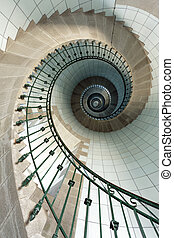 lighthouse staircase - dynamic view of high lighthouse...