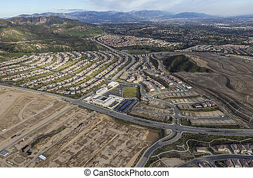 Porter Ranch Build Out Aerial - New neighborhood...