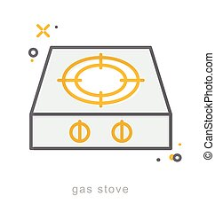 Thin line icons, Gas stove - Thin line icons, Linear...