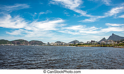 View of Guanabara Bay at sunny day with Christ the Redeemer...