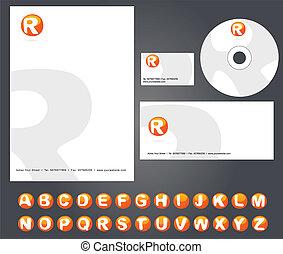Editable letterhead template design with custom alphabet