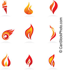 Fire icons - 1 - Collection of fire icons and logos