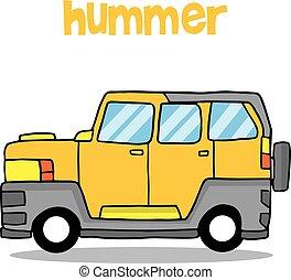 Transportation of hummer cartoon design vector illustration