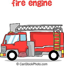 Fire engine transportation collection design vector...
