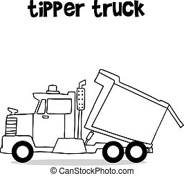 Tipper truck with hand draw vector art