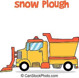 Snow plough cartoon design vector art collection