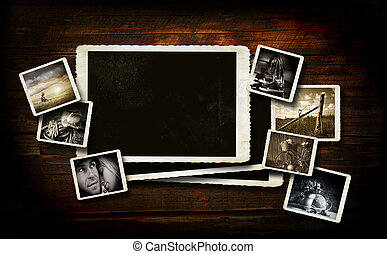 Scrap-booking  background on dark wood with photos