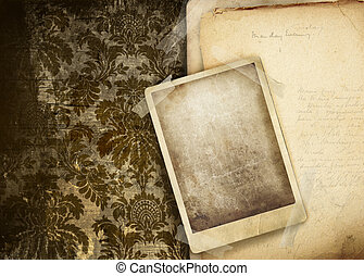 Vintage floral background with old papers