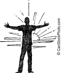 Man with open arms silhouette - Hand drawn vector...