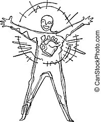 Happy man with open arms - Hand drawn vector illustration or...