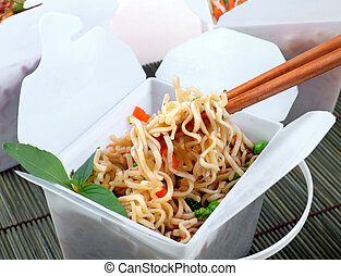 Take Out Chinese Noodles - Take away egg noodles on...