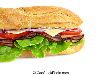 Ham And Salad Sub - Giant ham, tomato, lettuce, cheese and...