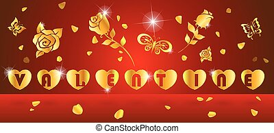 valentine - alphabet love in heart gold with rose and...