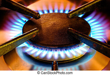 Old gas cooker hob in operation