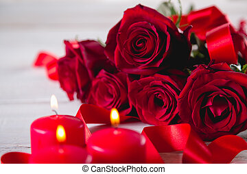 Beautiful roses, valentine's concept, bright background