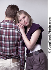 Couple relations - Cute couple with dependability concept,...