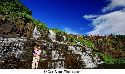 Mother Holds in Arms Little Girl Shows Waterfall Pongour -...