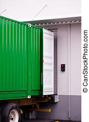 貨物, 裝貨, 容器, 船塢, 綠色, 在下面, 倉庫, 卸貨