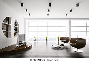 Modern interior of living room 3d - Interior of living room...