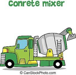 Concrete mixer of vector art collection stock