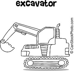 Collection of excavator transportation vector