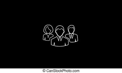 Group Of People Thin Icon With Alpha Channel - Business and...