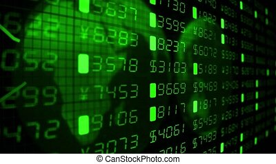 Financial diagrams tickers numbers business data money stock market trade 4k