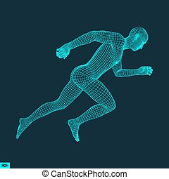 3d Running Man. Design for Sport, Business, Science and...