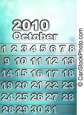 Calendar - Numbers on October 2010 calendar page