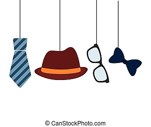 hat tie glasses and bow hanging decorative card father day
