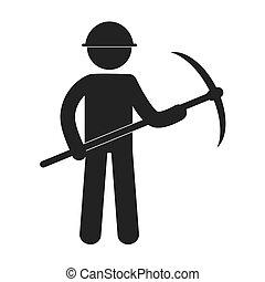 casco, minería, figura,  Pictogram, hacha, pico, hombre