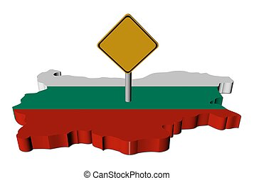 warning sign on Bulgaria map flag