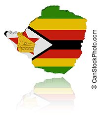 Zimbabwe map flag with reflection - Zimbabwe map flag 3d...