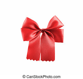Red ribbon object isolated white background.