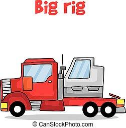 Cartoon big rig transportation vector