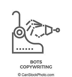 Bots copywriting icon - Bots Copywriting Thin Line Vector...